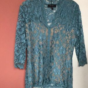 Turquoise lace top NWOT